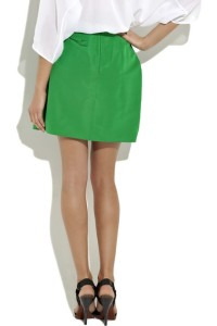 Bright green silk skirt